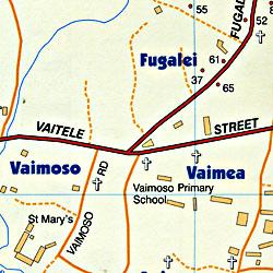 Western Samoa, Road and Tourist Map.