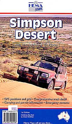 Simpson Desert, Road and Tourist Map, Australia.