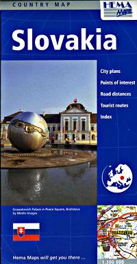 Slovakia Road and Tourist Map.