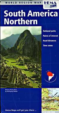 South America, NORTHERN, Road and Tourist Map.