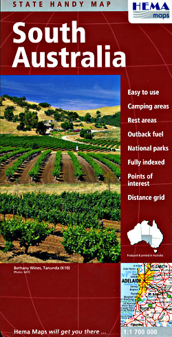South Australia State, Road and Tourist Map, Deluxe, Australia.