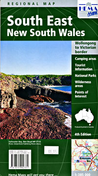 New South Wales, South East, Regional Road and Tourist Map, Australia.