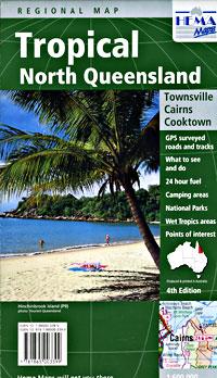 Queensland, Tropical North, Regional Road and Tourist Map, Australia.