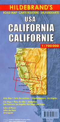 California Road and Shaded Relief Tourist Map, America.