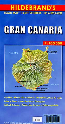 Gran Canaria Island, Road and Shaded Relief Tourist Map, Canary Islands, Spain.