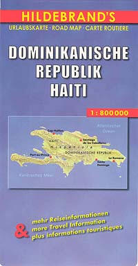 """Dominican Republic and Haiti (""""Hispaniola""""), Road and Shaded Relief Tourist Map, West Indies."""