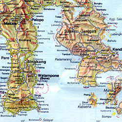 Indonesia, WESTERN, Road and Shaded Relief Tourist Map.