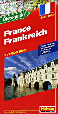 Hallwag France Road Map, Travel, Tourist, Detailed, Street.