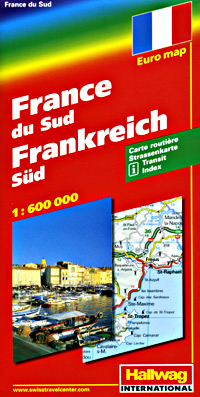 France, SOUTH, Road and Shaded Relief Tourist Map.
