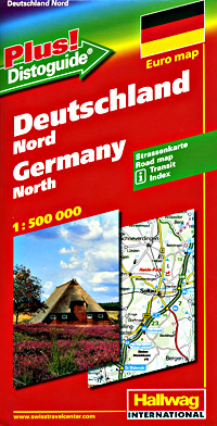 """Germany, North, Road and Shaded Relief Tourist Map, with """"Distoguide""""."""