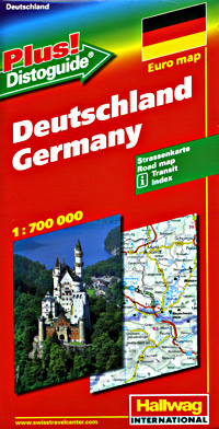 """Germany Road and Shaded Relief Tourist Map, with """"Distoguide""""."""