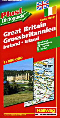 """Great Britain and Ireland Road and Shaded Relief Tourist Map, with """"Distoguide""""."""