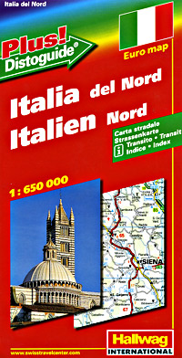 """Italy North Road and Shaded Relief Tourist Map, with """"Distoguide""""."""