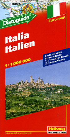 """Italy Road and Shaded Relief Tourist Map, with """"Distoguide""""."""