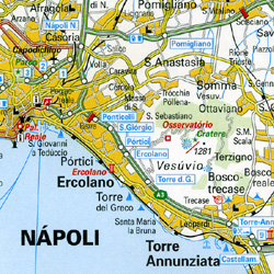 Italy South Road and Shaded Relief Tourist Map.