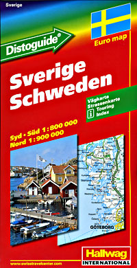 Sweden Road and Shaded Relief Tourist Map.