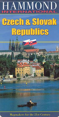 Czech and Slovak Republics, Road and Shaded Releif Tourist Map.