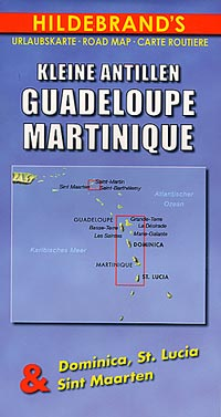 Guadeloupe and Martinique Islands (Lesser Antilles), Road and Shaded Relief Tourist Map, West Indies.