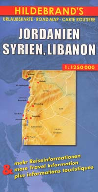 Syria, Lebanon, and Jordan, Road and Shaded Relief Map.