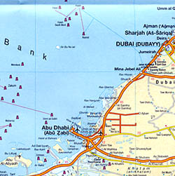 Oman and the United Arab Emirates, Road and Shaded Relief Tourist Map.