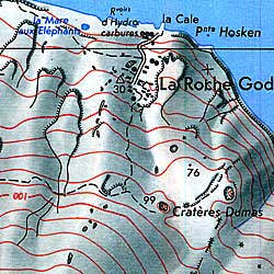 St. Paul and Amsterdam Island, Road and Topographic Map, Atlantic Ocean.