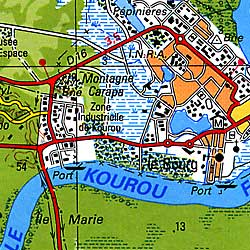 French Guiana, Cayenne, Kourou, Road and Shaded Relief Tourist Map.