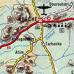 Chad Road and Topographic Tourist Map.