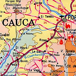 Colombia Road and Shaded Relief Tourist Map.