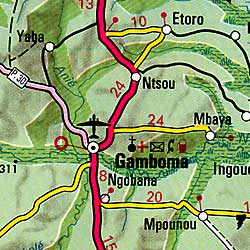 Congo Republic, Road and Shaded Relief Physical Map.