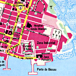Guinea-Bissau, Road and Physical Tourist Map.