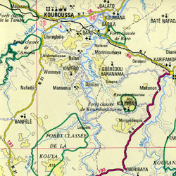 Guinea Road and Physical Tourist Map.