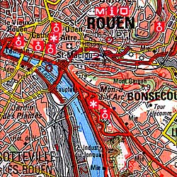 Le Havre and Rouen Section Map.