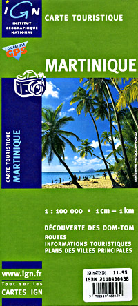 Martinique Road and Topographic Shaded Relief Tourist Map, West Indies.