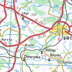 Ukraine Road and Shaded Relief Tourist Map.
