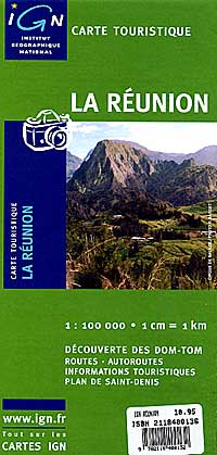 Reunion Island, Road and Shaded Relief Tourist Map, Indian Ocean.
