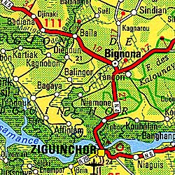 Senegal Road and Travel Map.