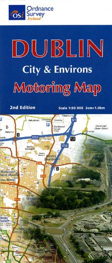 DUBLIN Area Motoring Map, Ireland.