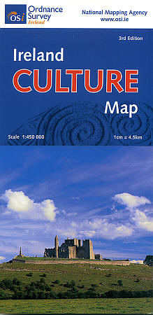 """Ireland """"Culture"""" Road and Shaded Relief Tourist Map."""