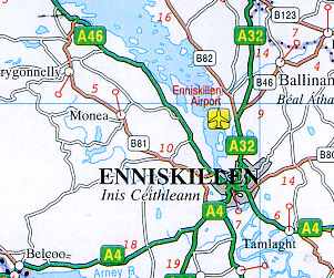 """Ireland """"Driving"""" Road and Shaded Relief Tourist Map."""