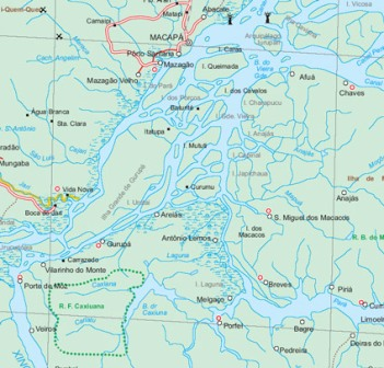Amazon Basin, Road and Physical Travel Reference Map, Brazil.