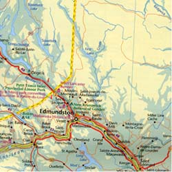 Atlantic Canada Road and Physical Travel Reference Map.