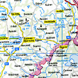 BALTIC STATES Road and Physical Travel Reference Map.