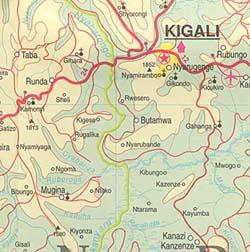 Burundi and Rwanda, Road and Physical Travel Reference Map.
