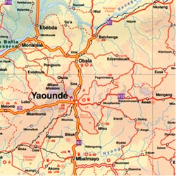 Cameroon and Gabon, Road and Physical Travel Reference Map.