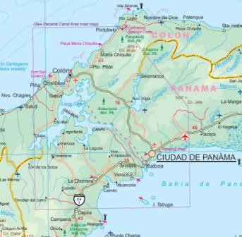 Central America Road and Physical Travel Reference Map.