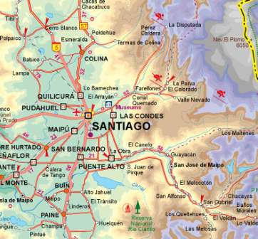 Chile Road and Physical Travel Reference Map.