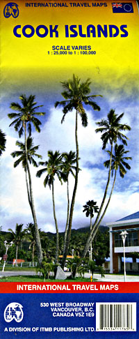 Cook Islands, Road and Physical Travel Reference Map, South Pacific.