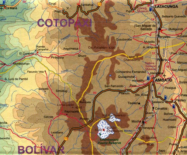 Ecuador Road and Physical Travel Reference Map.