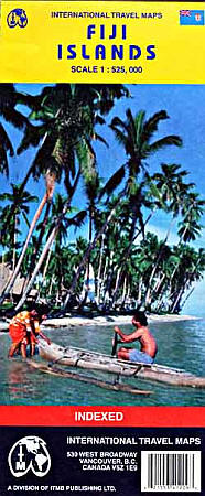 Fiji Islands, Road and Physical Travel Reference Map.
