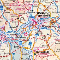 Germany Road and Physical Travel Reference Map.